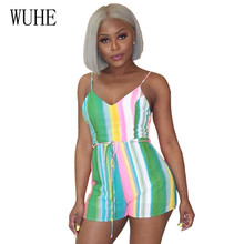 WUHE Rompers Womens Spaghetti Summer Sleeveless Jumpsuits Female Elegant Printed Striped Playsuits Sexy Backless Bodysuits