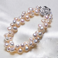 2016 New Fashion 6 7mm 100 Natural Freshwater Pearl Bracelet For Women Pink Purple White Pearl