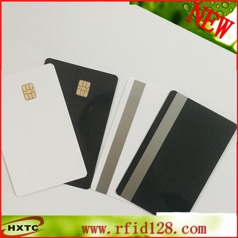 Factory price Customized contact blank SLE4442 chip black card with 2track magnetic stripe 20pcs lot contact sle4428 chip gold card with magnetic stripe pvc blank smart card purchase card 1k memory free shipping