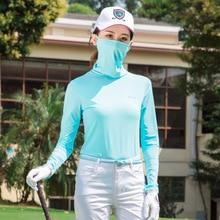Обновленная футболка для гольфа, Солнцезащитная нижняя одежда, женские дышащие быстросохнущие топы, маска от солнца D0679