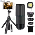 Fish eye Wide Angle Macro Lentes 8X Telephoto Zoom Lens Phone Lenses Tripod Holder Shutter Fill Light For iphone 4 5 6 7 Plus