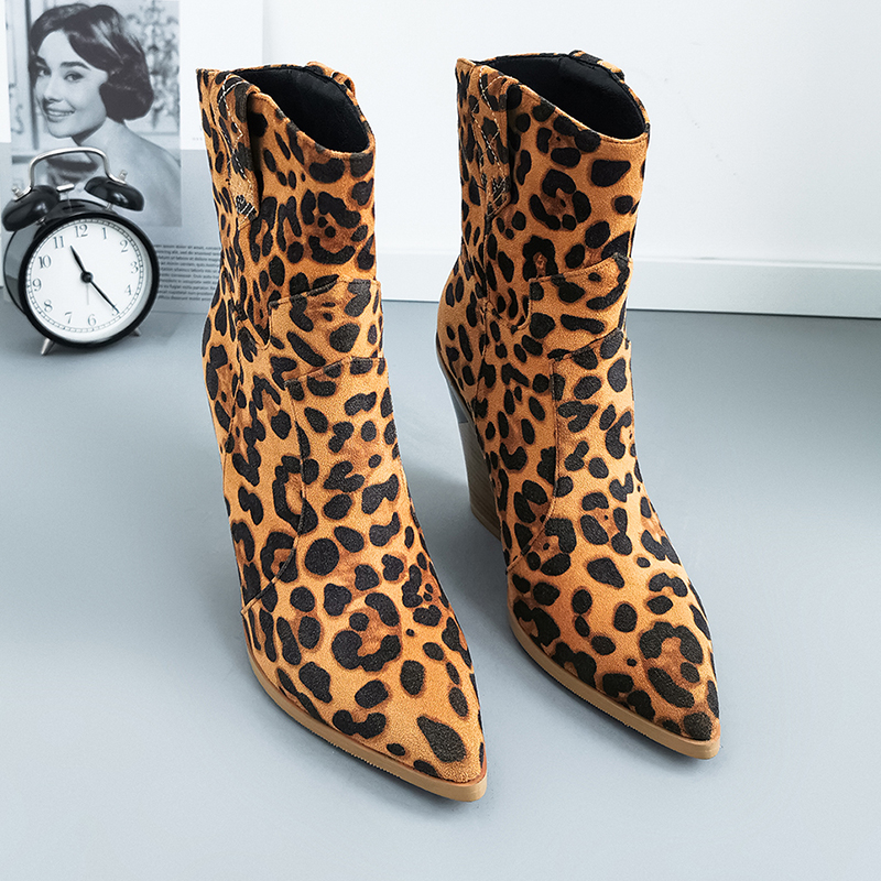 Winter Autumn Women's High Heels Ankle Boots Fashion Leopard Western Cowboy Boots Brand Designer Shoes Women Platform Boots