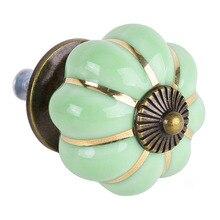 AYHF-8 Дизайн Тыквы Фарфоровые Ручки Мебельные Ручки Мебельные ручки Мебельные ручки роскошный зеленый