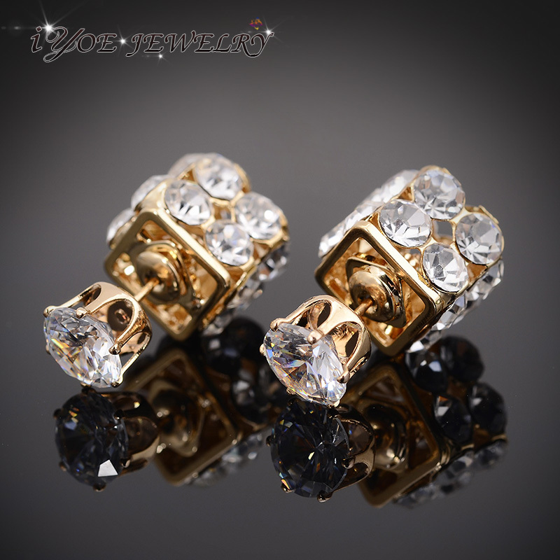 Серьги-гвоздики IYOE из белого золота с крупными кристаллами, модные ювелирные украшения, серьги с двойным лицом для женщин