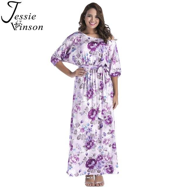 Jessie Vinson Plus Size Floral Print Long Dress Women Fashion Lantern Half  Sleeve Lace up Waist Maxi Dress Summer Party Vestido a6d23a82c4b6