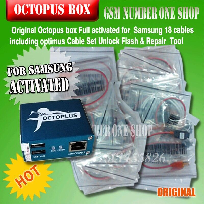 Gsmjustoncct 100% D'origine 2019 nouveau octopus boîte/Octoplus box Pour SAMSUNG + 19 Câbles pour SAM Déverrouiller Flash Réparation mobile Téléphone