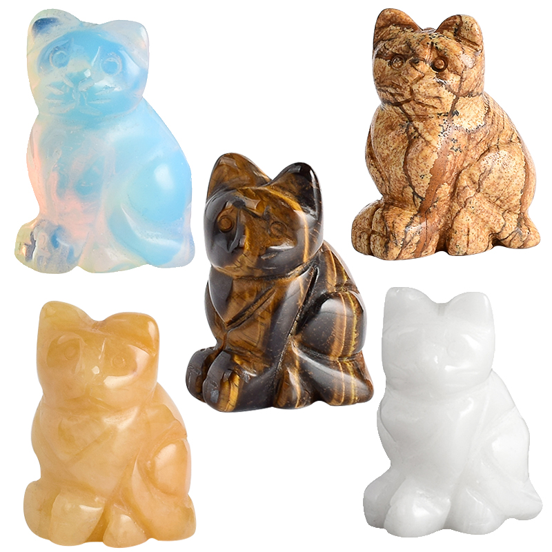 1.5 Inch Crystal  Cat Animal Statue Carved Cute Cat Figurine Gemstone Figurines For Home Decor Chakra Healing Fun Toys As Gifts