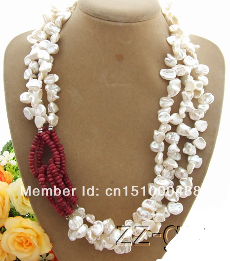 Free shipping 3Strds White Keshi Pearl& Necklace