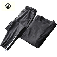 Summer Men Set Sporting Tee Shirt Pants Sportwear Track Suit Male Two Piece Sweatsuit Quick Drying