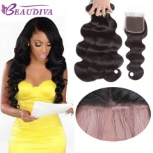 Beaudiva Pre-Colored Brazilian Hair Body Wave With Closure 100% Human Hair Weave Natural Color 3 Bundles With Lace Closure