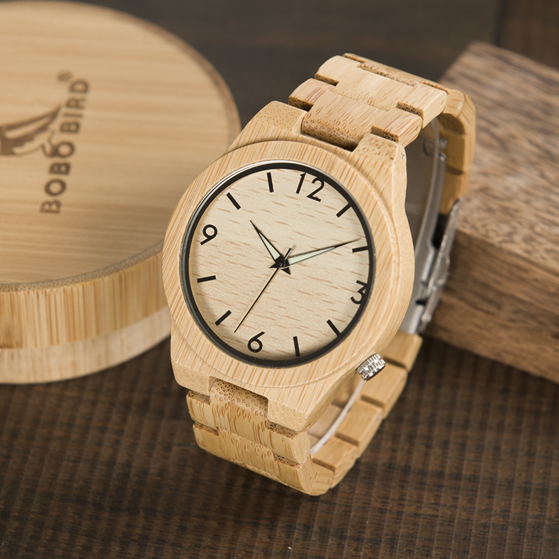 Logo Custmized BOBO BIRD Natural Bamboo Wooden Watches Men Japan Movement Clock relogio masculino B-D27Logo Custmized BOBO BIRD Natural Bamboo Wooden Watches Men Japan Movement Clock relogio masculino B-D27
