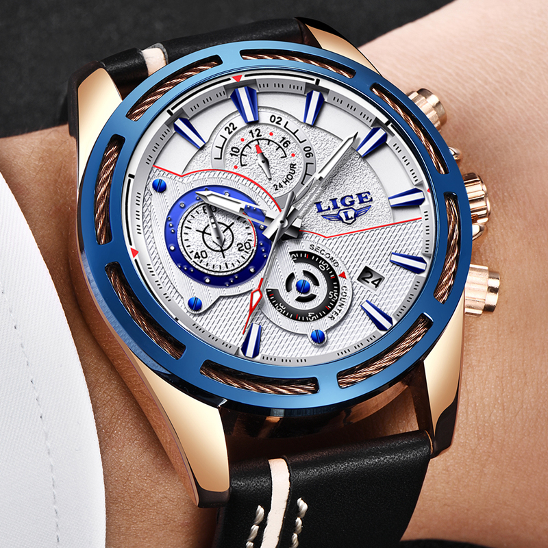 Relojes Hombre 2018 New LIGE Top Brand Luxury Watch Mens Military Sport Waterproof Wrist Watch High Quality Leather Quartz Clock
