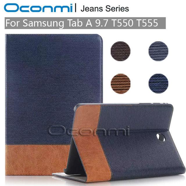 Высокое качество Джинсы Бумажник кожаный чехол для Samsung Galaxy Tab 9.7 дюймов новый чехол для SM-T550 SM-T555 крышку планшета рукава