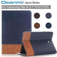 High quality Jeans Wallet leather case for Samsung Galaxy Tab A 9.7 inch new cover for SM-T550 SM-T555 tablet cover sleeves