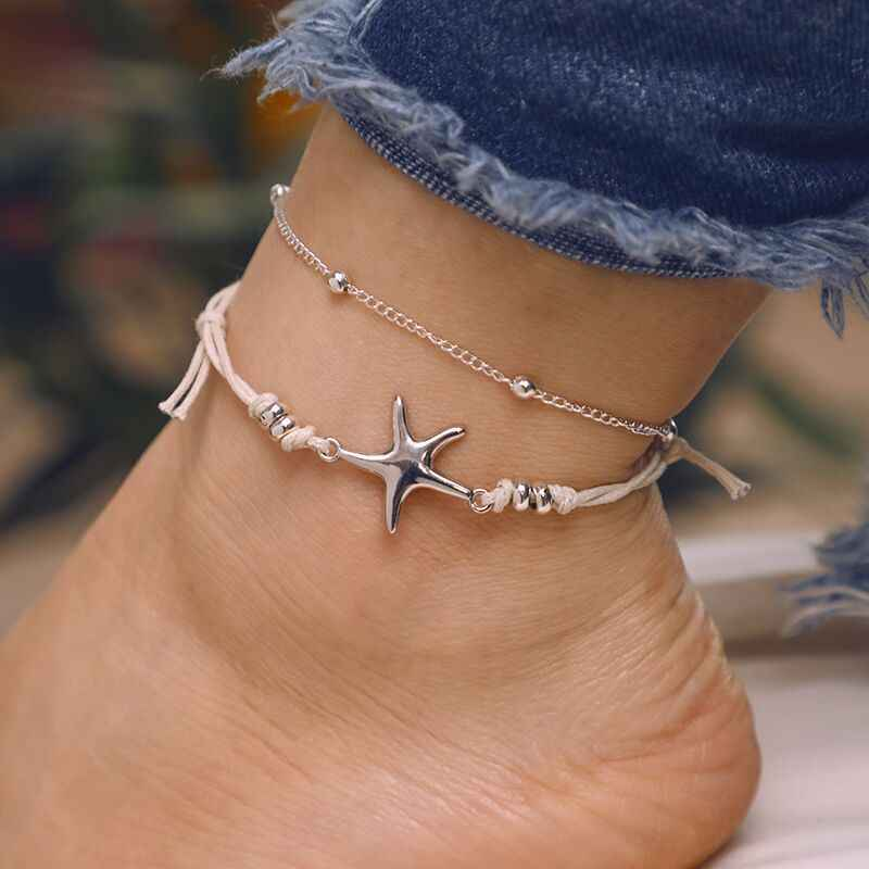 Rinhoo Beige Geometric Bead Starfish/Turtle Pendant Anklet for Women's Gift Vintage Adjustable Anklets Bracelets Fashion Jewelry