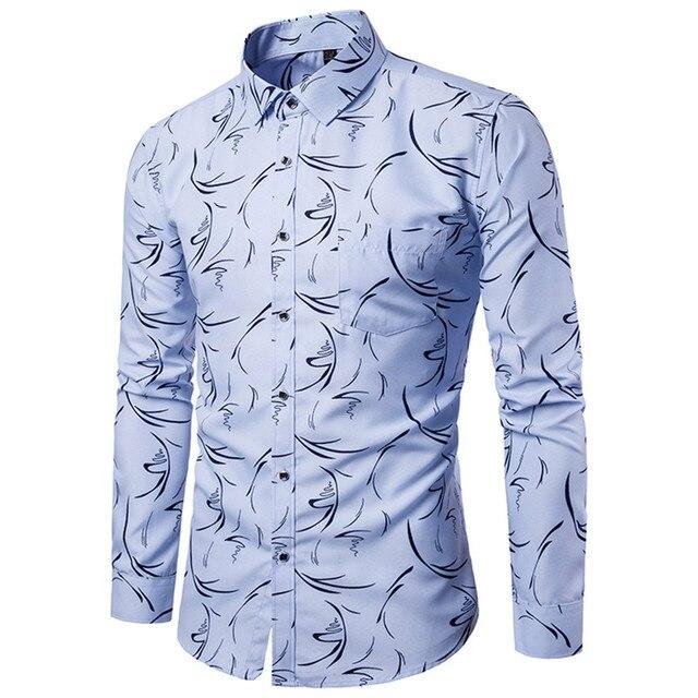 74eea133b13e Striped Print Light Blue Shirt Business Man Casual Blouse Square Buttons  Fashion Floral Blusa Boys Streetwear