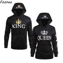 ddfdd88762 2018 SPring King Queen Printed Hoodies Women Men Sweatshirt Lovers Couples Hooded  Hoodies Sweatshirt Casual Pullovers. 6 Colors Available