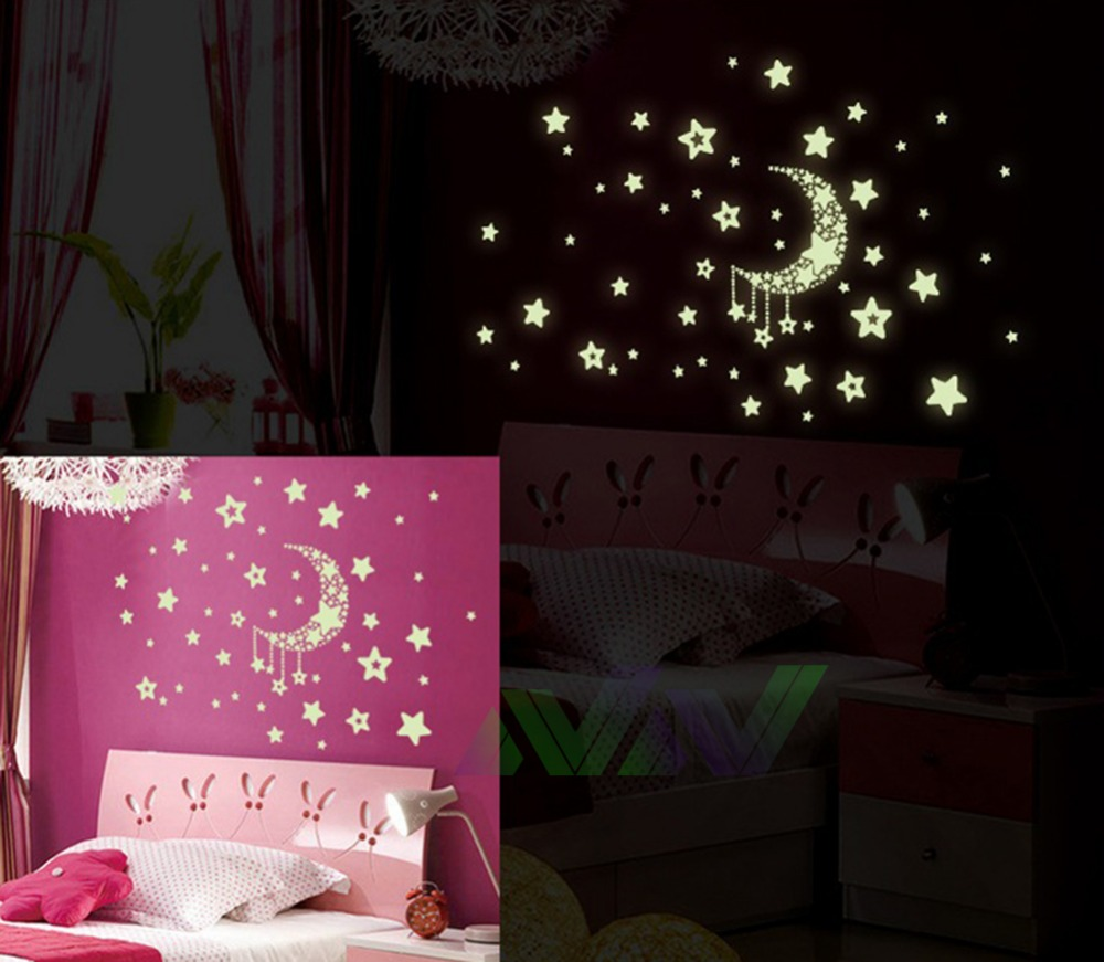 Wall stickers glowing - Noctilucent Stars Moon Meteor Light Modern Luxury Creative Wallpaper Bedroom Living Room Ceiling Painting Roofs Wallsticker