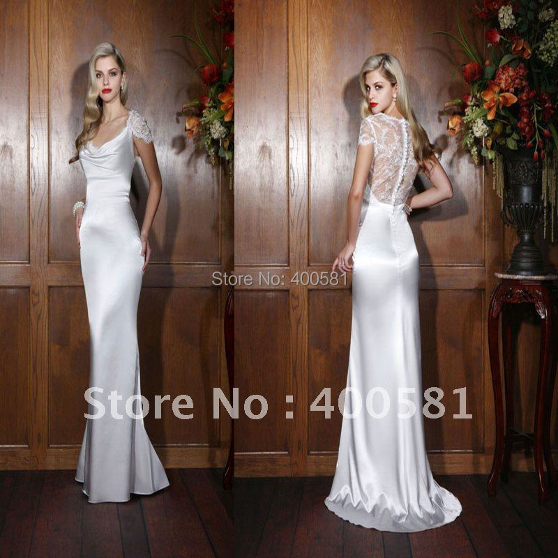 Wholesale Off Shoulder Lace Straps Fit And Flare Sweep Train Low Cut Back With Satin New Wedding Dress In Dresses From Weddings Events On