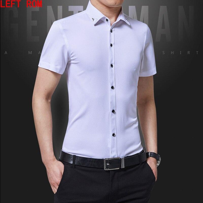2018 Men Shirt Short Sleeve Slim Fit Solid Mens Dress Shirts Formal Shirts Designs Camisa Social Masculina Men Business Shirt