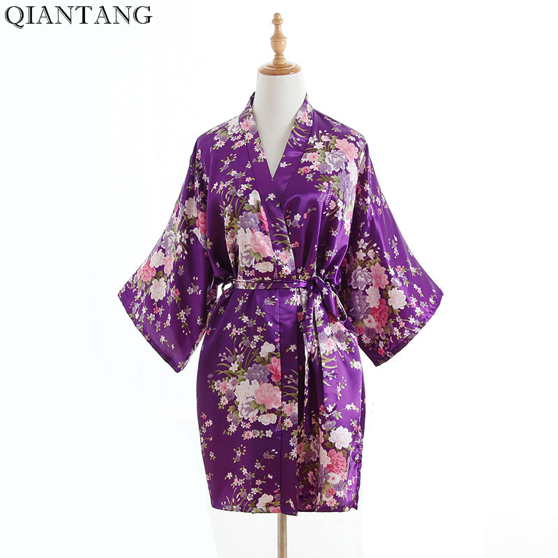 Plus Size Fashion Ladies Summer Short Kimono Mini Bath Robe Gown Purple Womens Rayon Yukata Nightgown Pijama Mujer Msf009