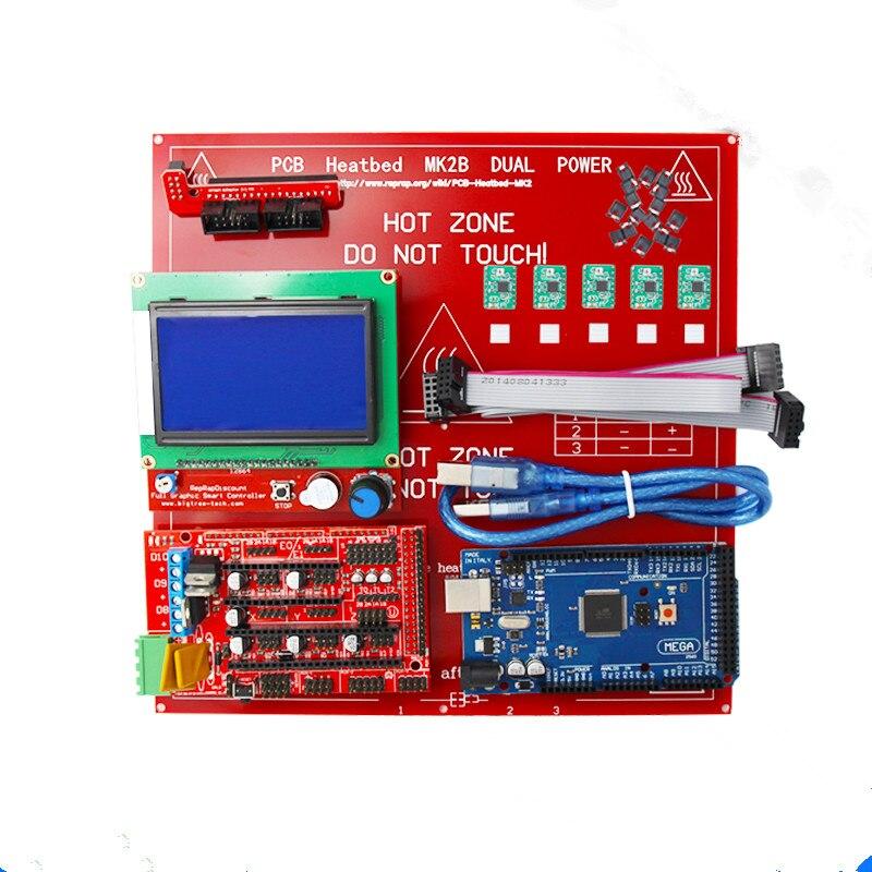 CNC 3D Imprimante Reprap Rampes 1.4 Kit Avec Mega 2560 r3 + Heatbed mk2b + 12864 LCD Contrôleur + A4988 moteur + Câbles