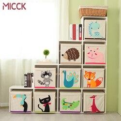 MICCK Embroidery Cartoon Animal Folding Storage Box Sundries Children Clothes Toys Book Storage Organizer Wardrobe Underwear Bin