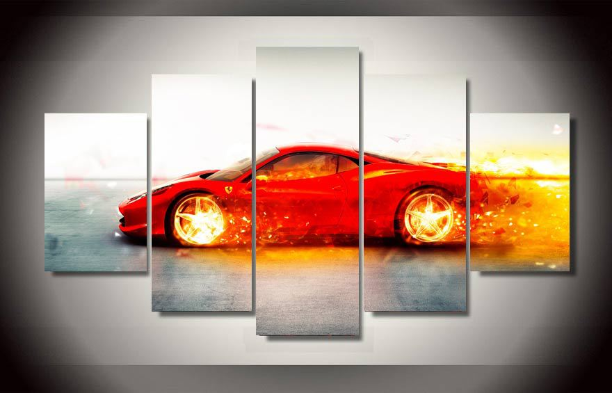5pcs with framed printed red sports car painted canvas for homes decoration print poster picture canvas