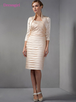 Champagne 2018 Mother Of The Bride Dresses Sheath With Jacket Knee Length Plus Size Short Elegant