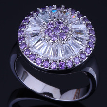 Fancy Round Purple Cubic Zirconia White CZ 925 Sterling Silver Ring For Women V0480