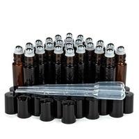 24 יחידות רול על בקבוק שמן אתרי זכוכית ענבר ריק 10 ml צלוחיות עם רולר כדור מתכת נירוסטה עבור בושם ארומתרפיה
