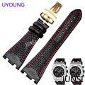 Uyoung mens de calidad correa de cuero genuino correa de reloj venda de reloj negro 28mm para audemars piguet