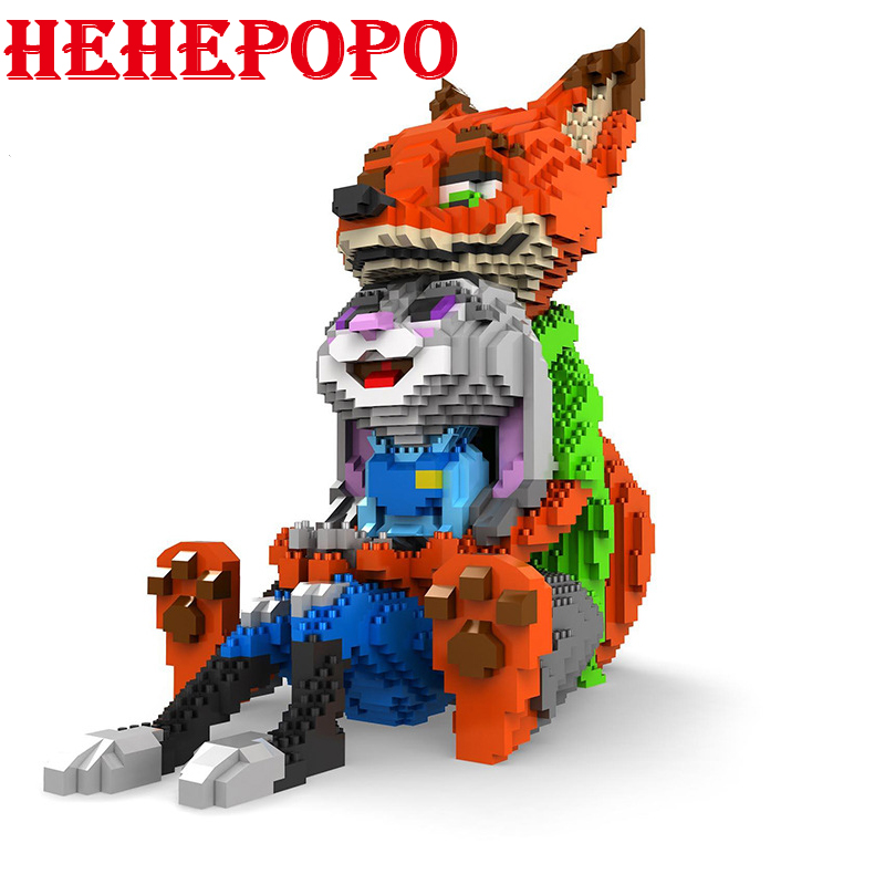 Large Size Love Fox Rabbit Diamond Mini Blocks 3D Jigsaw Building Toy Educational Intelligence Blocks for Children Gifts 8828 wl mini blocks captain america animal fruit intelligence model building nanoblock diy cute party supplies toy