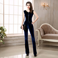 2017 New Winter Sleeveless Elastic Velvet Jumpsuit Zipper Slim Black and Blue 2 Color Leisure Wide Leg Pants D776