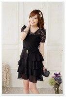 2014 Plus Size XXXL Fashion Women Tiered Ruffles Cake Chiffon Dress Lace Summer Layered Dress Slim