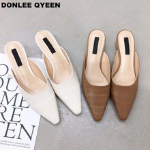 DONLEE QUEEN Women Low Heel Slippers Slip On Mules Pointed Toe Shallow Shoes Fashion Dress Female Chaussure