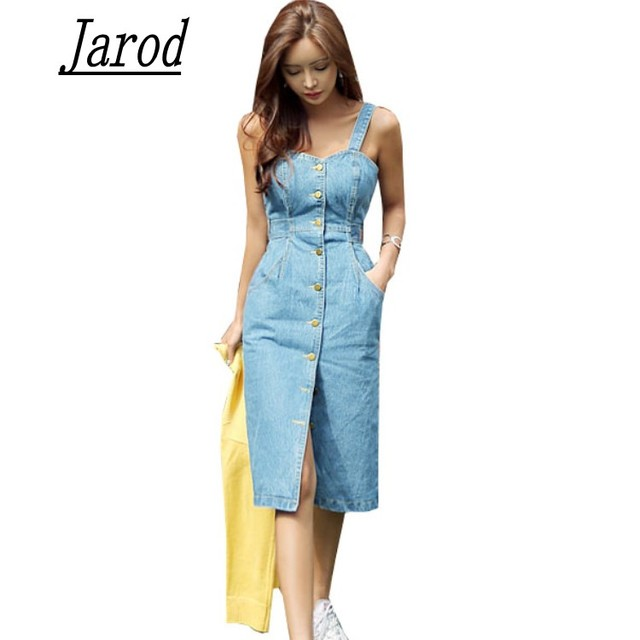 99a9e6f5 2018 Sexy Sleeveless Backless Bow Tie Strap Jeans Dress Women Single-Breasted  Suspender Denim Sundress Overall Dress