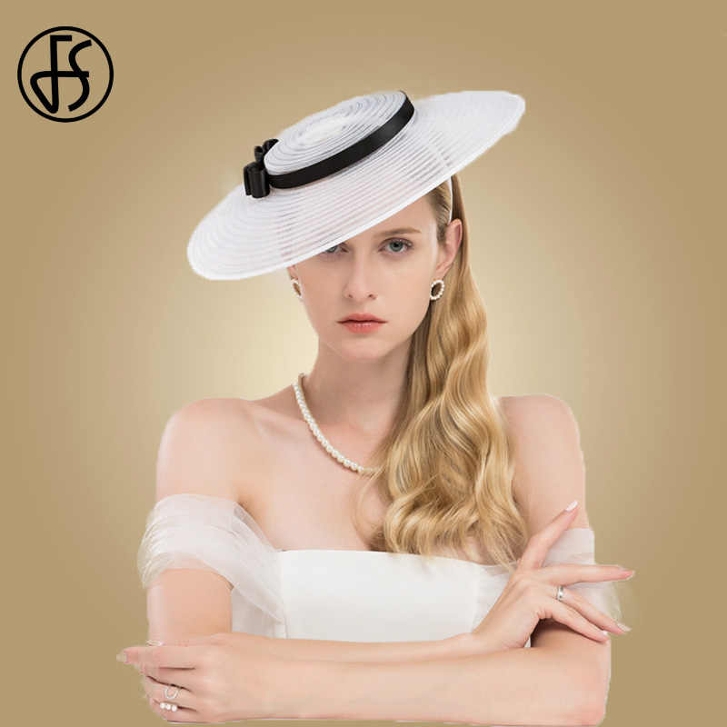 FS Fascinators For Women White Black Hat Elegant Large Wide Brim Hats Kentucky Derby Church Ladies Bow Wedding Dress Fedoras