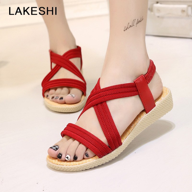LAKESHI 2018 Women Shoes Red Bohemian Fashion Women Flat Sandals Cross-tied Summer Beach Sandals Slip On Cork Female Shoes