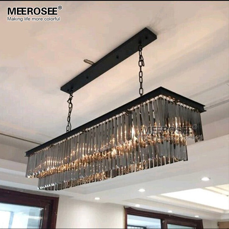 Modern Crystal Pendant Light Fixture Rectangle Crystal Hanging Lamp Popular Crystal Drop Lamparas Lving room Hotel Project Cafe in Pendant Lights from Lights Lighting