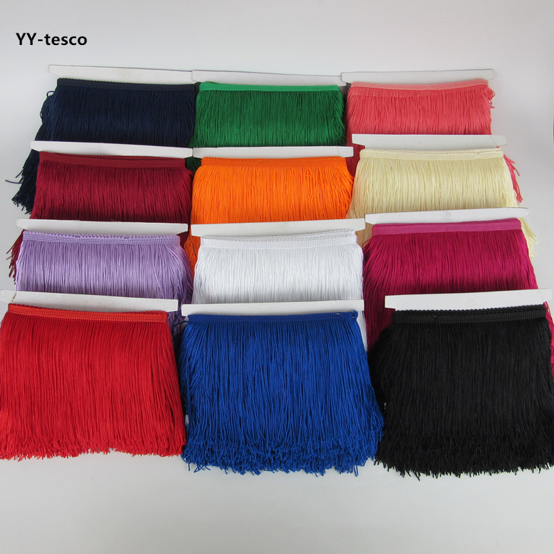 YY-tesco 1Yards 15cm Wide Lace Fringe Trim Tassel Fringe Trimming For DIY Latin Dress Stage Clothes Accessories Lace Ribbon