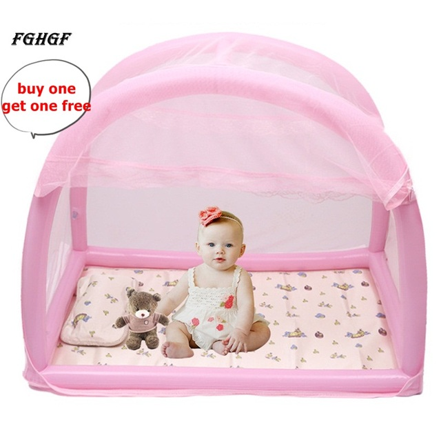 FGHGF Inflatable Bracket Baby Bed Crib Folding Summer Safety Mosquito Net For Infant Portable Bed+1pc Free Mosquito Repeller