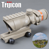 Acog Tan Color Tactical Style 4x32 Rifle Scope Red Dot Red Optical Fiber 20mm Rail Airsoft Laser Mildot
