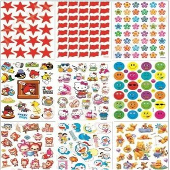 G410 children's reward sticker kindergarten praise cartoon sticky paper Pentagram small red flower smiling face and so on image