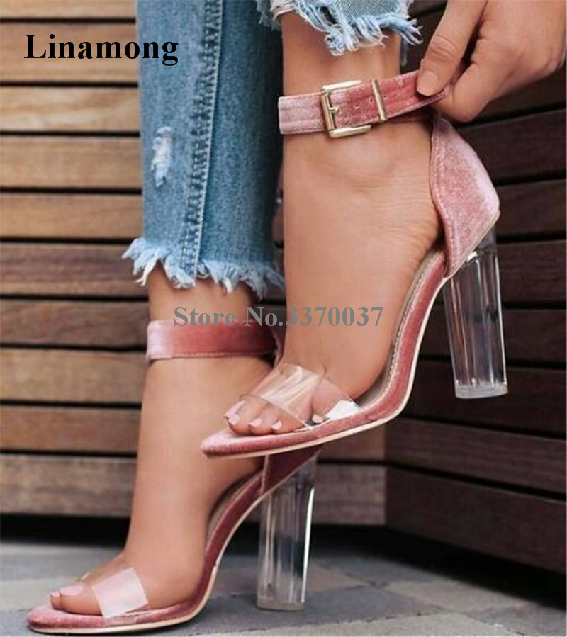 4f7d7e4e70f7 2018 New Women Open Toe One PVC Strap Crystal Chunky Heel Sandals Ankle  Strap Transparent Thick