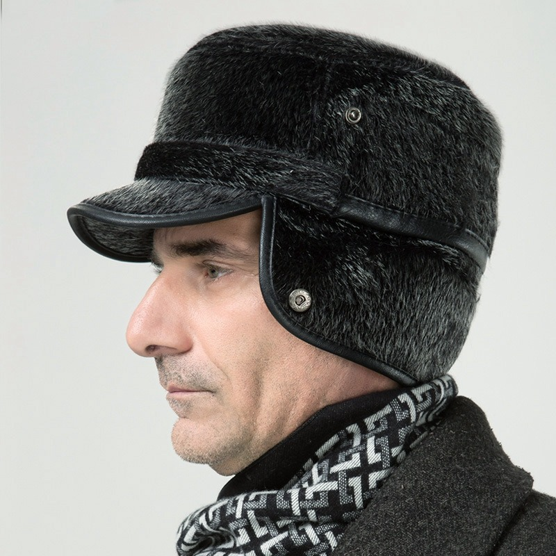 f9aae87914e Winter Thicken Flat Top Bomber Hats Men Top Quality Russian Snow Hat with  Earflaps Retro Faux