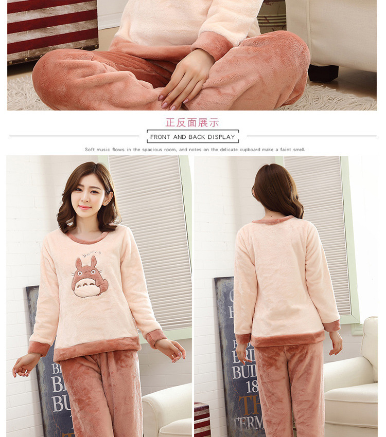 High Quality Women Pajama Sets Winter Soft Thicken Cute Cartoon Flannel Sleepwear 2 pcs/Set Tops + Warm Pants Home Clothes Mujer 113