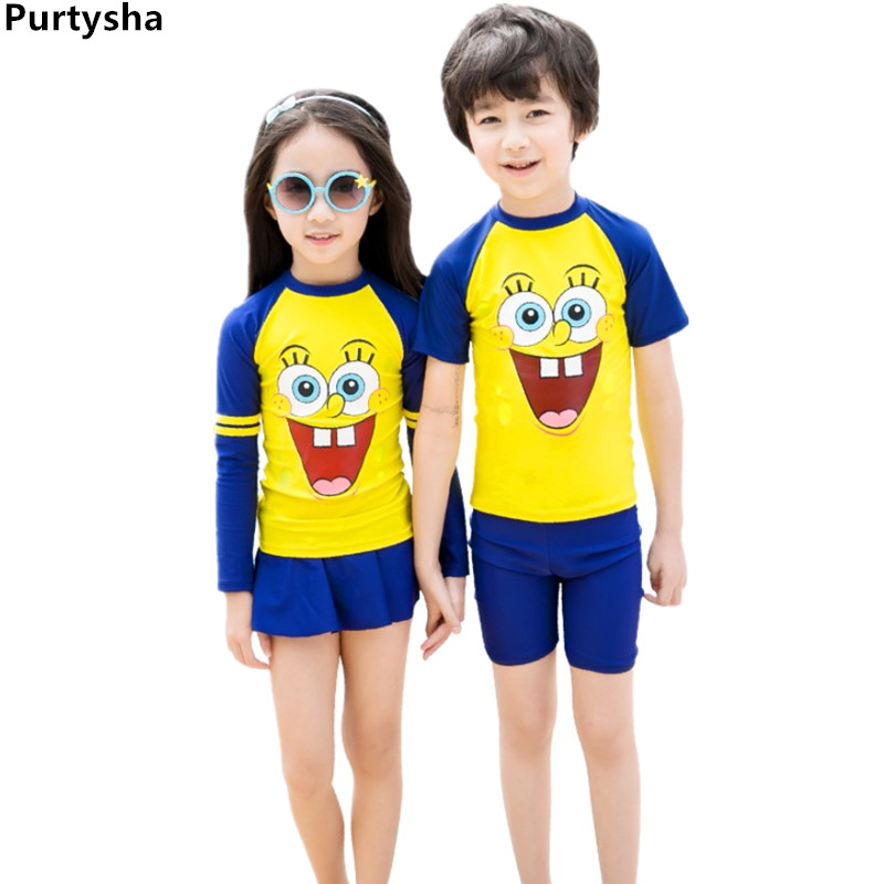 Kids Swimwear Long Sleeve Cartoon Children Boys Bathing Suit Toddler Girls Two Piece Swimsuit Rashguard Quick-dry Diving Suit