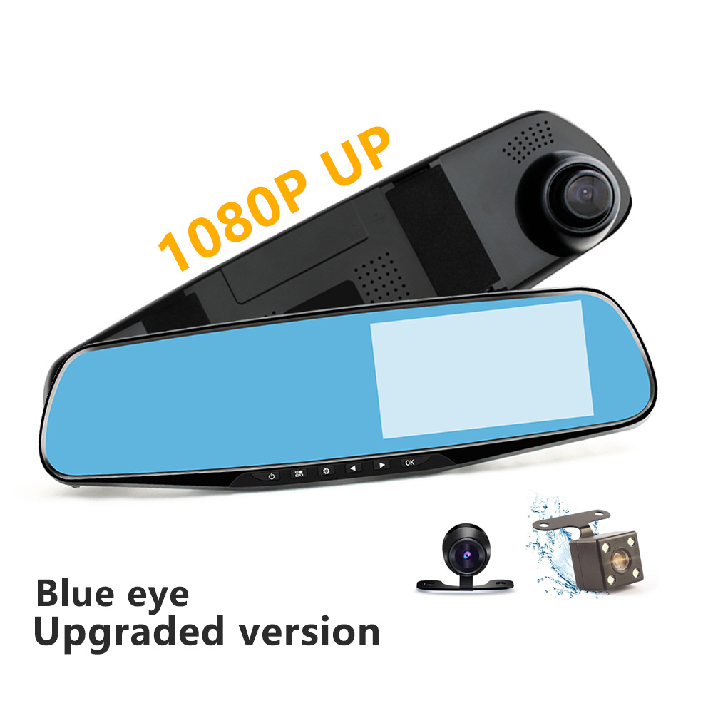 Black Car DVR Dual Lens Full HD 1080P Video Recorder Rearview Mirror With Rear view Automobile