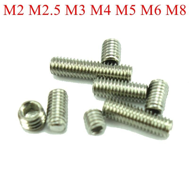 20 pcs DIN913 M2 M2.5 M3 M4 M5 M6 M8 M10 M12 M16 304 Stainless Steel Grub Screws Flat Point Hexagon Socket Set Screws 50pcs lot din913 m2 m2 5 m3 m4 m5 304 stainless steel metric thread grub screws flat point hexagon socket set screws headless